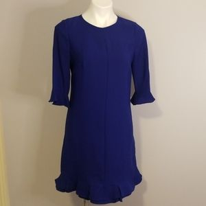 Cece Bright Blue Ruffle Bottom and Sleeve Dress 8